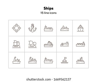 Ships line icon set.Sea transportation concept. Vector illustration can be used for topics like marine, transport, travel