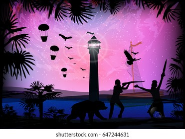 The ships are pirates. Palm trees tropical forest. Fight, fight on land. Flight in a hot air balloon. Trip around the world. Illustration for your design.