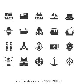 Ships related in glyph design icon set