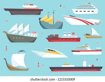 Ships at sea, shipping boats, ocean transport vector icons set