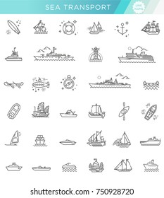 Ships - set of modern vector plain line design icons and pictograms