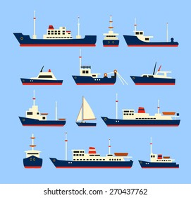 Ships set. Silhouettes of various boats and yachts.