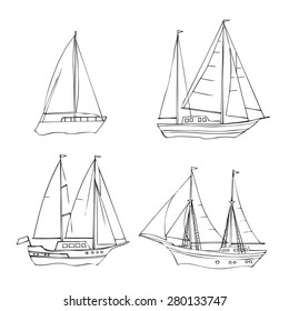 Ships/ Set of sketches black and white. Vector Illustration