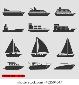 Ships transportation and shipping icons.