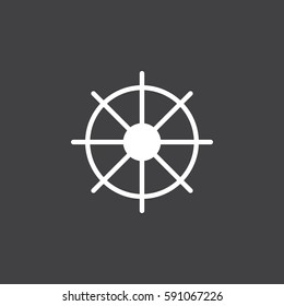 Ships wheel icon vector, filled flat sign, solid white pictogram. Symbol, logo illustration. Pixel perfect