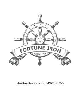 ship's wheel logo vintage handrawn rustic logo design template