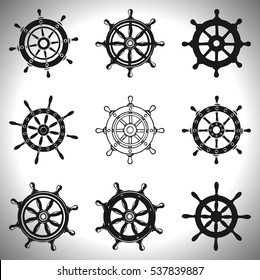 ships wheels, Collection of different black and white logo design. Vector illustration.