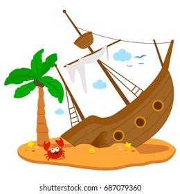 Shipwreck, a broken ship on an island. Vector illustration