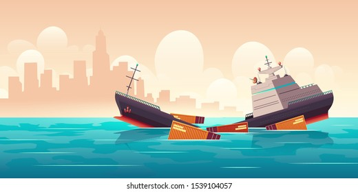 Shipwreck of cargo ship, vessel sinking in ocean with goods containers going under water surface on cityscape background with skyscrapers silhouettes marine transport crash Cartoon vector illustration