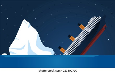Shipwreck Iceberg Transatlantic Sank, vector illustration cartoon.