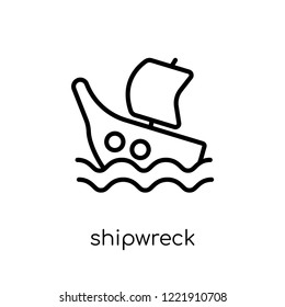 Shipwreck icon. Trendy modern flat linear vector Shipwreck icon on white background from thin line Fairy Tale collection, editable outline stroke vector illustration