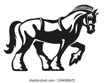 Shire Horse / Draft Horse / Heavy Horse, vector logo illustration, fully adjustable & scalable.