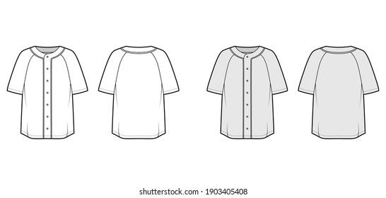 Shirt baseball button front technical fashion illustration with raglan short sleeves, button up, oversized. Flat apparel jersey top template front, back, white, grey color. Women men unisex CAD mockup