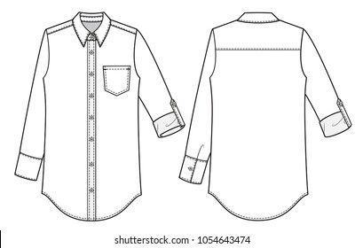 Shirt Blouse fashion vector illustration flat sketches template