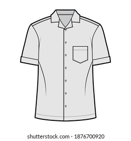 Shirt camp technical fashion illustration with short sleeves, angled patch pocket, relax fit, button-down, open collar. Flat template front, grey color. Women men unisex top CAD mockup