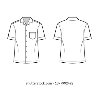 Shirt camp technical fashion illustration with short sleeves, angled patch pocket, relax fit, button-down, open collar. Flat template front, back white color. Women men unisex top CAD mockup
