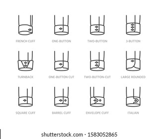 Shirt cuffs types flat line icons set. One button, french cuff, turnback sleeves vector illustrations. Outline pictogram for menswear store. Pixel perfect. Editable Strokes.