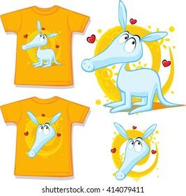shirt with cute aardvark illustration