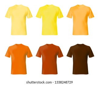 fa33d94d0 Shirt design template. Set men t shirt yellow, orange, brown color.  Realistic