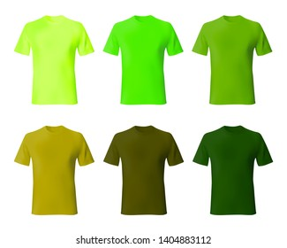 Shirt design template vector. Set men t shirt green, khaki color. Realistic mockup shirts model male fashion.