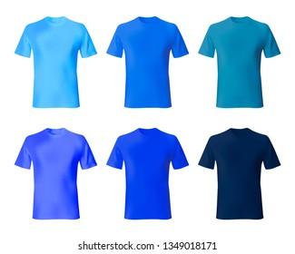 Shirt design vector template. Set men t shirt navy blue, indigo color. Realistic mockup shirts model male fashion.