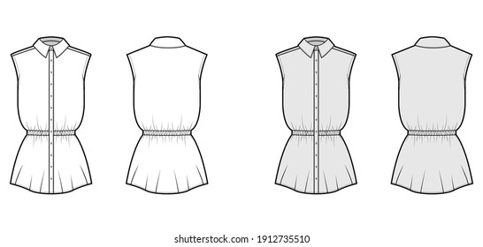 Shirt drawstring gathered waist technical fashion illustration with sleeveless, tunic length, classic collar. Flat apparel top template front, back, white, grey color. Women men unisex CAD mockup