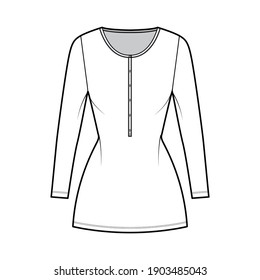 Shirt dress mini technical fashion illustration with henley neck, long sleeves, fitted body, Pencil fullness, stretch jersey. Flat apparel template front, white color. Women, men, unisex CAD mockup