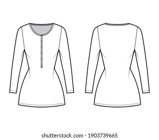Shirt dress mini technical fashion illustration with henley neck, long sleeves, fitted body, Pencil fullness, stretch jersey. Flat apparel template front, back, white color. Women, men, CAD mockup