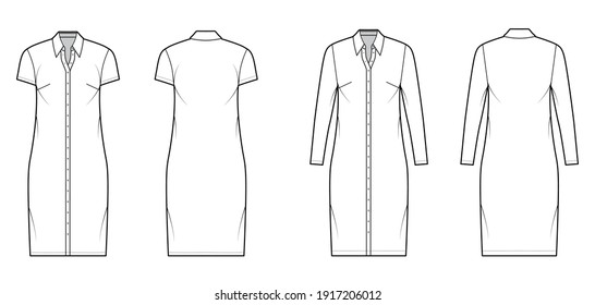 Shirt dress technical fashion illustration with classic regular collar, knee length, oversized body, Pencil fullness, button up. Flat apparel template front, back, white color. Women, men CAD mockup