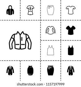 Shirt icon. collection of 13 shirt filled and outline icons such as singlet, jacket, blouse, football uniform, skirt. editable shirt icons for web and mobile.