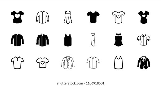 Shirt icon. collection of 18 shirt filled and outline icons such as jacket, singlet, blouse, skirt. editable shirt icons for web and mobile.
