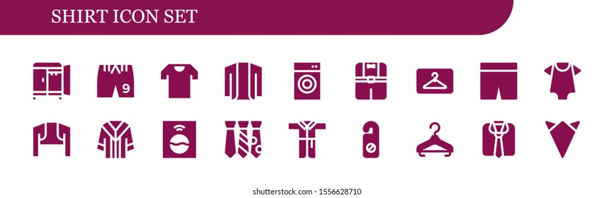 shirt icon set. 18 filled shirt icons.  Simple modern icons about  - Wardrobe, Shorts, Shirt, Cardigan, Washing machine, Clothes, Hanger, Baby clothes, Bolero, Uniform, Tie, Bathrobe
