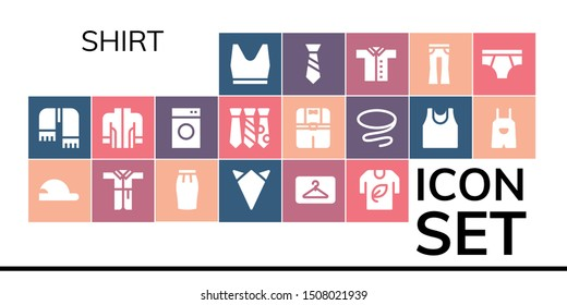 shirt icon set. 19 filled shirt icons.  Collection Of - Tank top, Scarf, Baseball cap, Bathrobe, Skirt, Handkerchief, Hanger, Tshirt, Jacket, Washing machine, Tie, Clothes icons