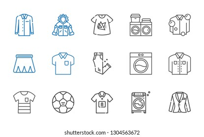 shirt icons set. Collection of shirt with suit, washing machine, football jersey, football, trousers, skirt, tshirt, jacket. Editable and scalable shirt icons.