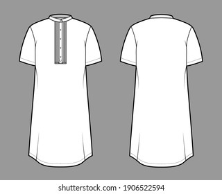 Shirt kurta technical fashion illustration with short sleeves, embellished henley neck. Flat indian shalwar qameez tunic apparel outwear template front, back, white color. Women men unisex CAD mockup