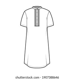 Shirt kurta technical fashion illustration with short sleeves, embellished henley neck. Flat indian shalwar qameez tunic apparel outwear template front, white color. Women men unisex CAD mockup