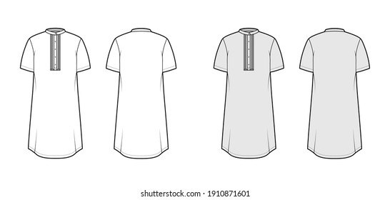 Shirt kurta technical fashion illustration with short sleeves, embellished henley neck. Flat indian shalwar qameez tunic apparel template front, back, white, grey color. Women men unisex CAD mockup