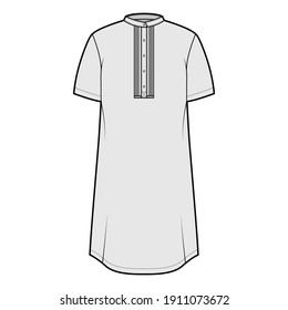 Shirt kurta technical fashion illustration with short sleeves, embellished henley neck. Flat indian shalwar qameez tunic apparel outwear template front, grey color. Women men unisex CAD mockup