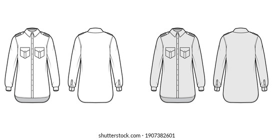 Shirt pilot airline technical fashion illustration with chevron, long sleeves with cuff, angled flap pockets. Flat apparel top outwear template front back white grey color. Women men unisex CAD mockup