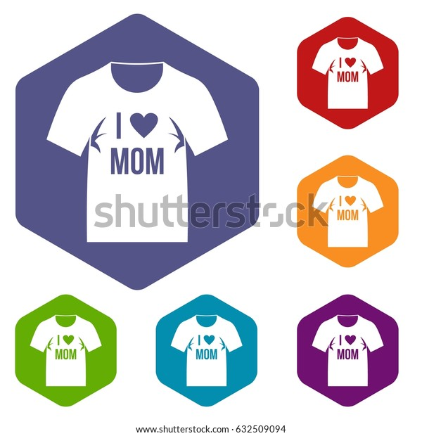 Shirt with print icons set hexagon isolated vector illustration