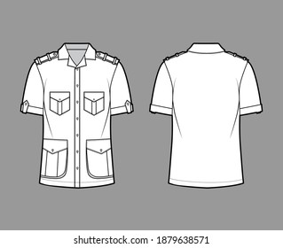 Shirt safari technical fashion illustration with short sleeves, flaps pockets, relax fit, button-down, epaulettes, open collar. Flat template front, back white color. Women men top CAD mockup