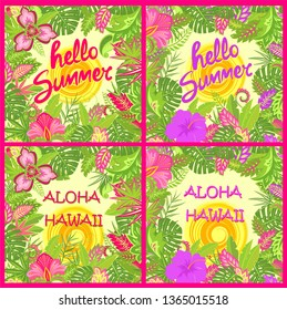 Shirt summer backgrounds variation with Aloha Hawaii and Hello summer lettering, tropical leaves, hot sun and exotic flowers for Tshirt fashion prints, summery party poster and other design