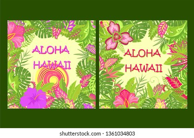 Shirt summer prints variation with Aloha Hawaii lettering, tropical leaves, hot sun and exotic flowers for bag, Tshirt, summery party poster and other design