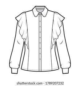 Shirt technical fashion illustration with fitted body, round collar with stand, ruffled and long sleeves with cuff. Flat blouse apparel template front, white color. Women, men top unisex CAD mockup