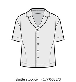 Shirt technical fashion illustration with relaxed silhouette, retro camp collar, back round yoke, front button fastenings, short sleeves. Flat apparel template front grey color. Women men unisex top