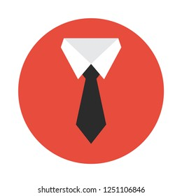 Shirt and tie flat icon. You can be used tie icon for several purposes like: websites, UI, UX, print templates, promotional materials, info-graphics, web and mobile phone apps.
