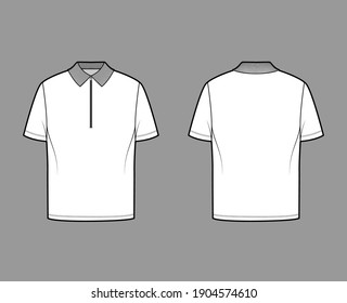 Shirt zip polo technical fashion illustration with short sleeves, tunic length, henley neck, oversized, flat knit collar. Apparel top outwear template front, back, white color. Women men CAD mockup