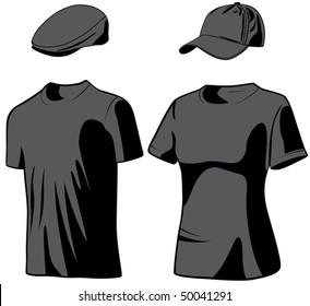 Shirts and hats. Vector illustration