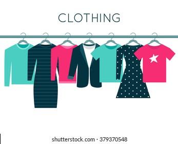 Shirts, Sweatshirt, Jacket and Dresses on Hangers. Clothing Illustration
