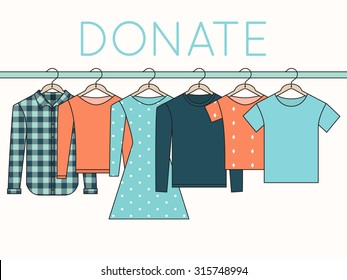 Shirts, Sweatshirts and Dress on Hangers. Donate Clothes Sign. Outline Illustration